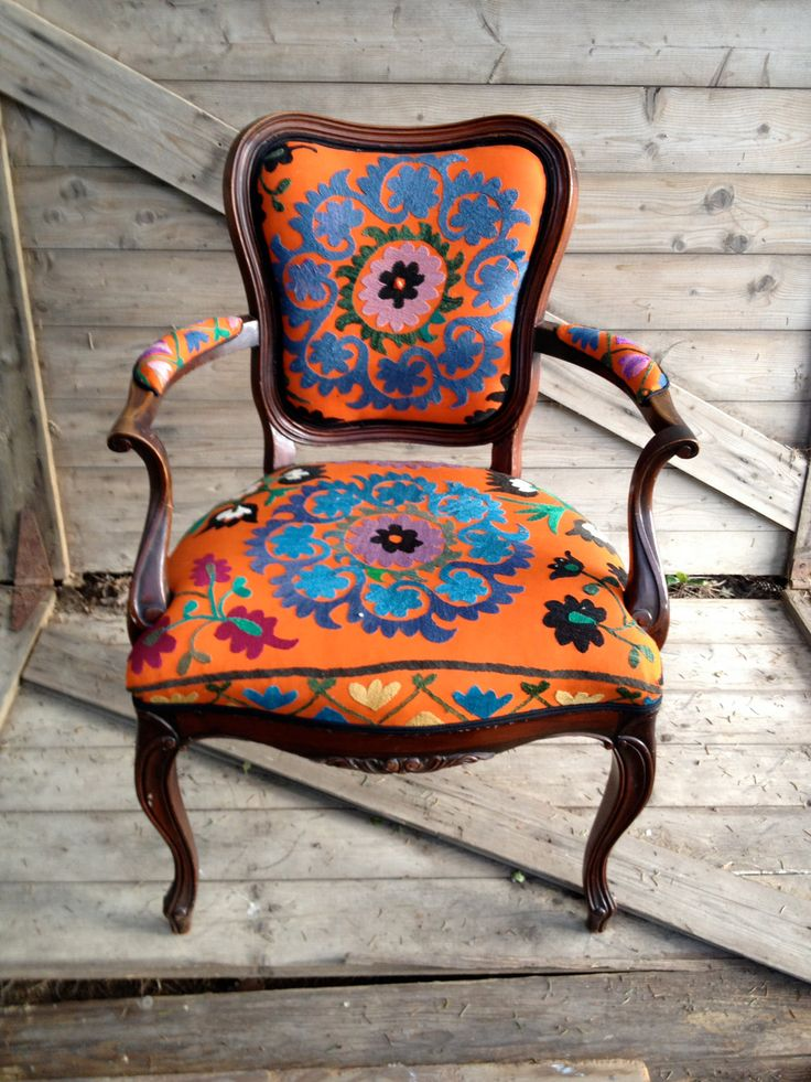 Antique French armchair, upholstered in vintage orange Suzani from chezboheme on Etsy