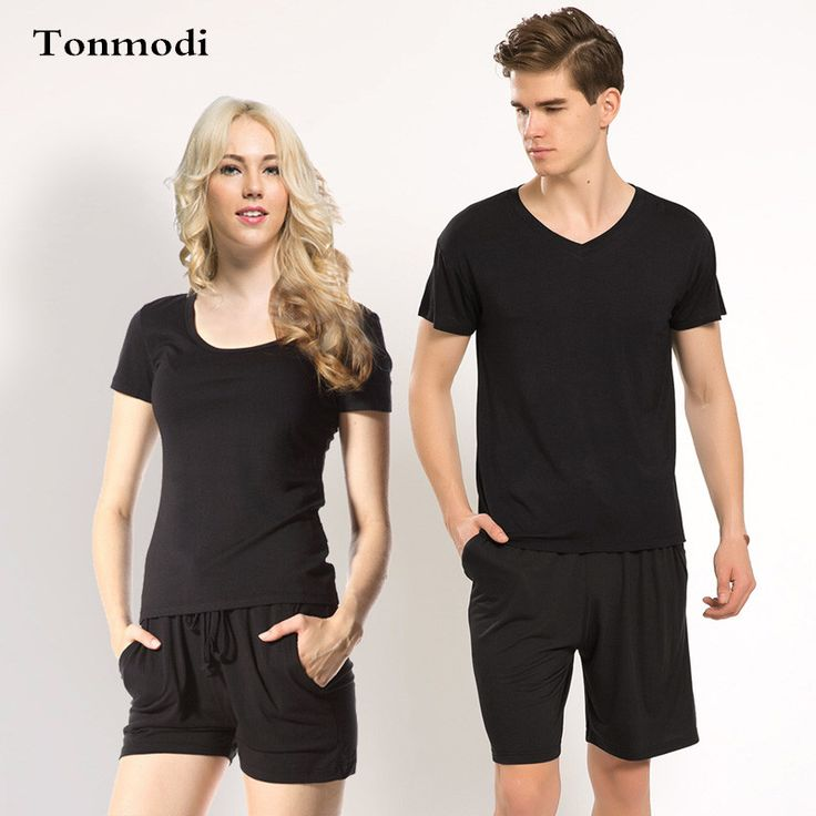 Couple pajamas summer sleepwear Women Modal Short sleeve shorts pyjamas Men And Women sleep lounge pajama Set Solid