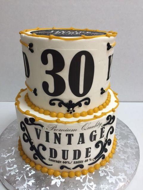 30th Birthday Vintage Dude Cake Colors Gold White And Black Two Tier Round