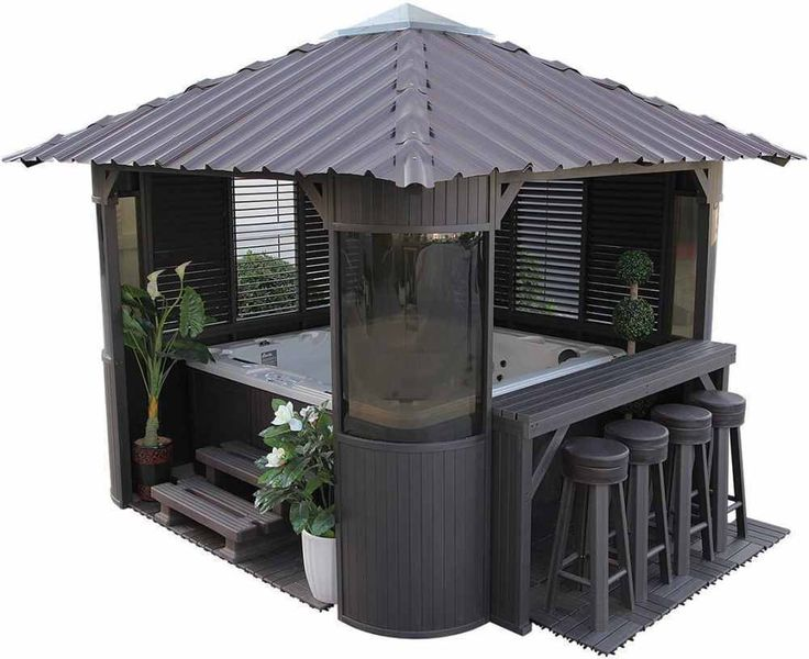 Garden Hot Tub Luxury Spa Gazebo Jacuzzi Relax Bar Kit 3 Side Panels