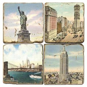 Stone Coasters: Old New York Coaster Set - Italian Botticino Marble.