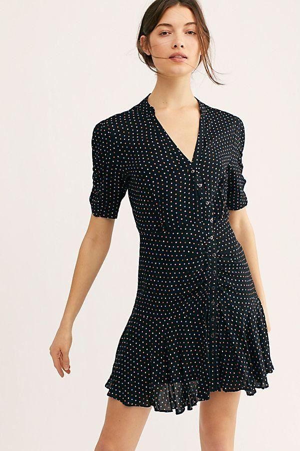 347b9eecc9d Pippa Short Sleeve Mini - Black and White Polka Dot Short Sleeve Dress -  Black and White Mini Dress - Polka Dot Dress - Button Up Polka Dot Dresses