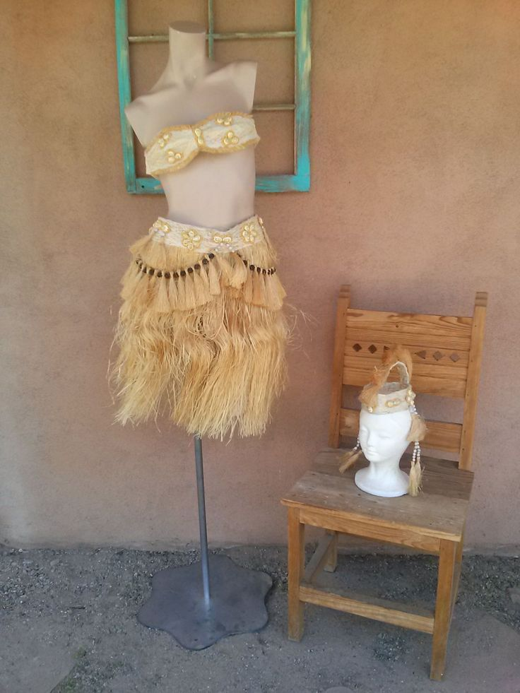 Vintage 1960s Hula Skirt Hawaiian Hau Polynesian Grass Skirt Girls Size 8 3 Pieces 2015278 - pinned by pin4etsy.com