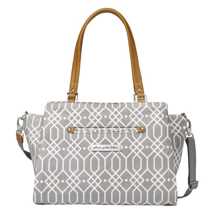 Statement Satchel The Petunia Pickle Bottom Statement Satchel is an effortlessly chic diaper bag with a modern, structured silhouette with a smart interior, dual handles and a removable cross-body str