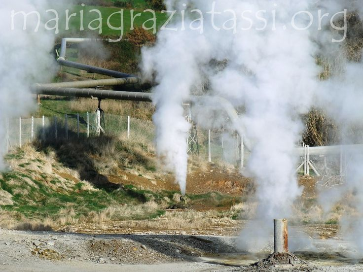 Energy, Geothermal power, Metal-bearing Hills, Larderello, Tuscany, Italy.