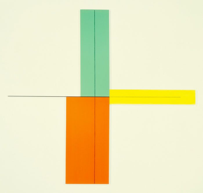 Contemporary aqua, yellow and orange boxes and black lines create this beautiful artwork archiverobertmangold