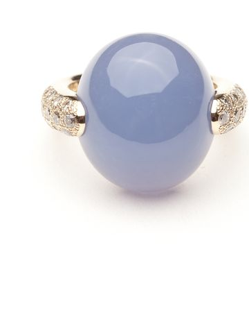 This ring looks simply magical.  A large blue cabochon chalcedony sits atop the 18kt gold shank.  Champagne diamonds graceful scattered along the display side of the shank add a sense of playfulness.  Size 51