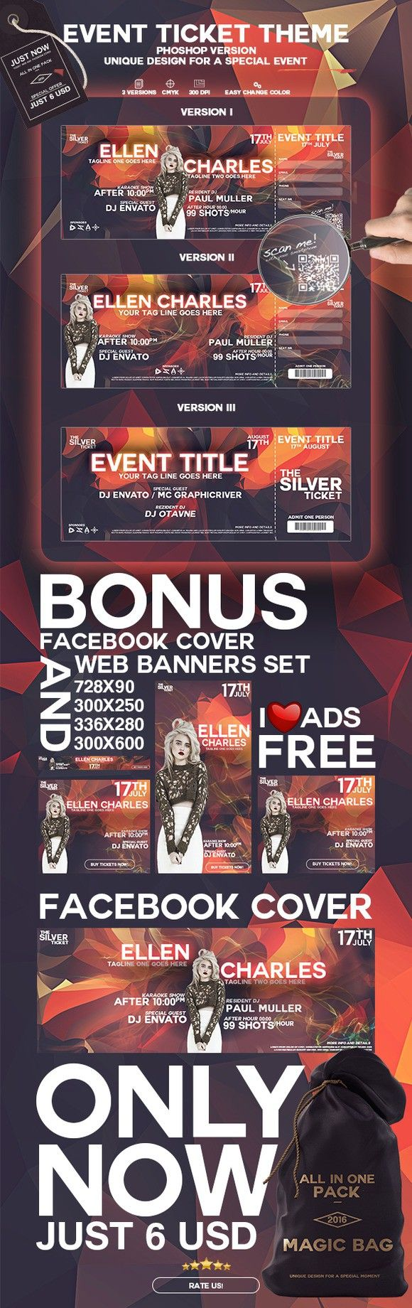 Event Ticket. Stationery Templates