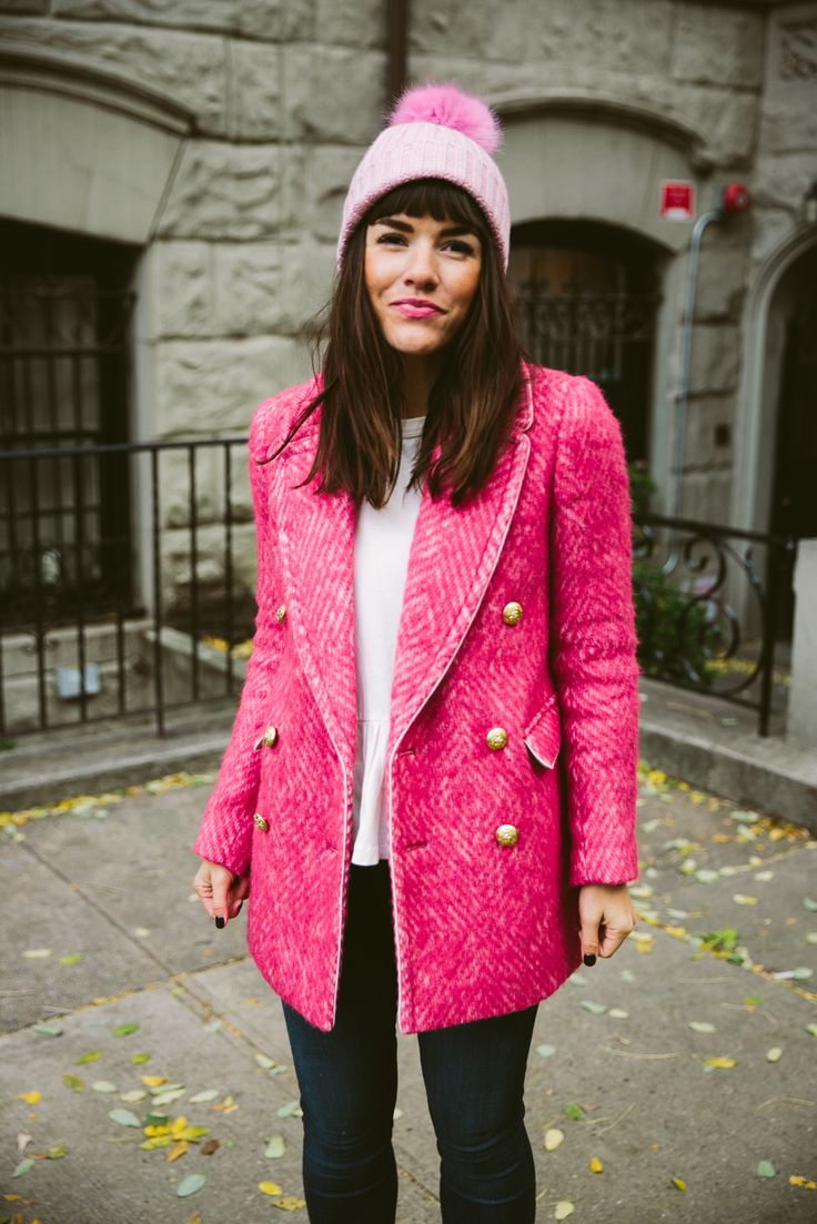 pink tweed coat!