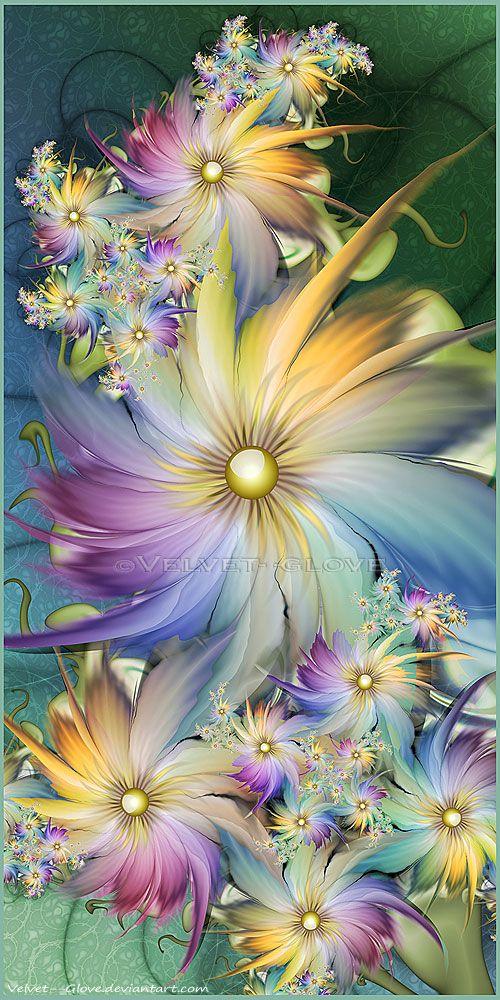 ♥ ⊰❁⊱ In My Fractal Garden by Velvet--Glove. ⊰❁⊱ (fractal art)