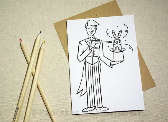 Coloring card - Magician by Pancakes & Camembert on Etsy.
