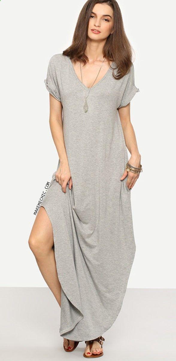 Grey Rolled-cuff Pockets Split Maxi Dress
