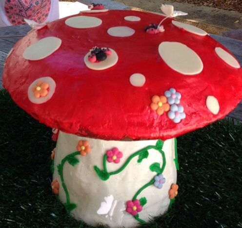 Pixie party toadstool cake. Rainbow cake stalk and chocolate top with a secret cachous centre