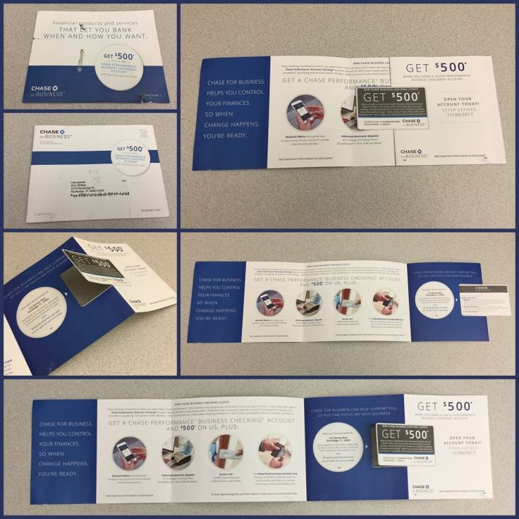Chase Bank die cut direct mailer with spot UV gloss coating on perforated coupon card.