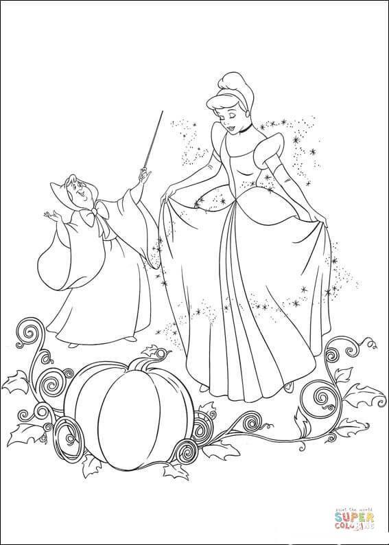 Fairy Helps Cinderella Super Coloring Cinderella Coloring Pages Disney Coloring Pages Coloring Books