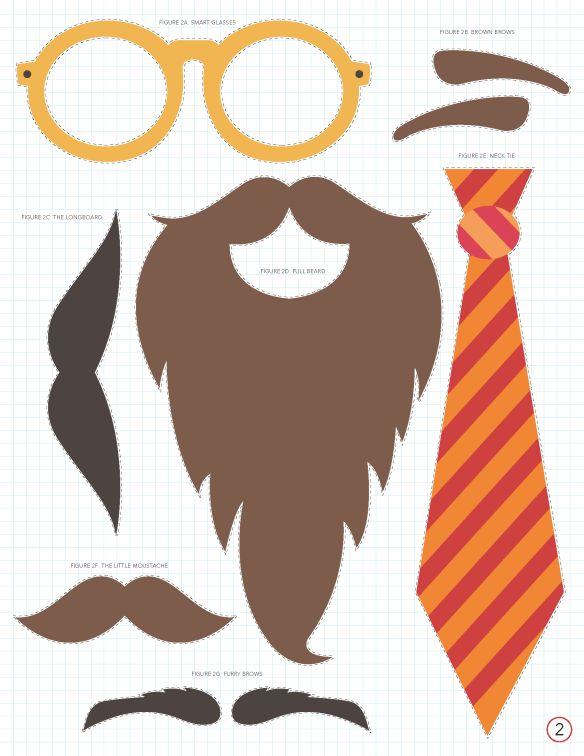 Imprimibles gratis: mostachos, anteojos, corbatas y mucho más | Tarjetas Imprimibles