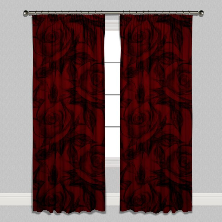 Red and Black Pencil Sketch Rose Curtains or Sheers