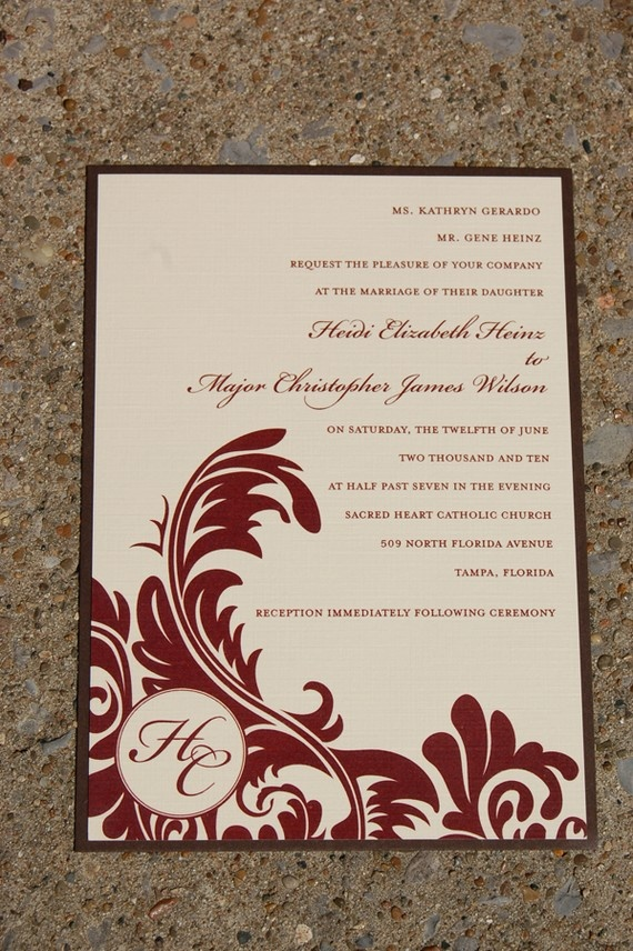 Ivory Cranberry And Chocolate Brown Wedding Invitation Via Etsy