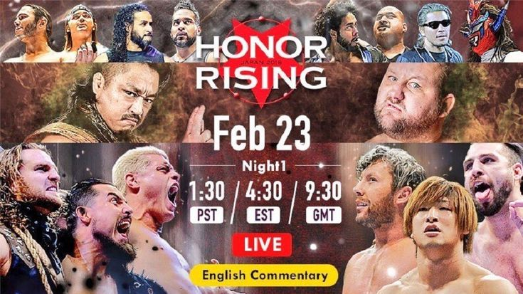 The Golden Lovers return to face the Bullet Club  The live broadcast of Honor Rising 2018 begins on its first day of this year. After a brief presentation of the billboard of the event before starting the first fight.  Bullet Club (Yujiro Takahashi & Bad Luck Fale) vs. Toa Henare & Katsuya Kitamura Takahashi and Kitamura initiate the action.   ##BulletClub #DaltonCastle #GoldenLoversCody #HonorRising #KennyOmega #NJPW #ROH