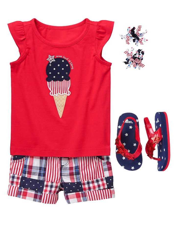 Gymboree Toddler Girl Red White & Cute Sweet Liberty Outfit