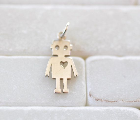 Roboter Charm Sterling Silber-Robot von LittlePepperJewelry