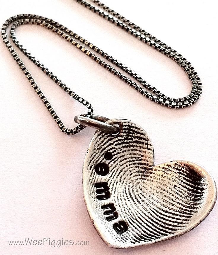 Sterling Silver Sweetheart necklace w/child'd fingerprint. WeePiggies.com