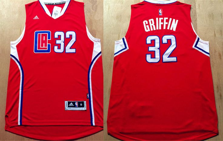 los angeles clippers 32 griffin red men 2017 new logo nba adidas jersey