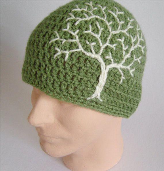 Gorrita tejida con árbol de la vida árbol Beanie sombrero para hombre chicos HatTree sombrero sombrero de mujer Hippie sombrero gitano sombrero salvia verde y crema - hecho por encargo