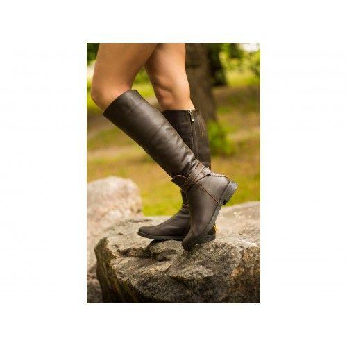 #Кожаные коричневые #сапоги #женские GF-М112 - стильная вещь
