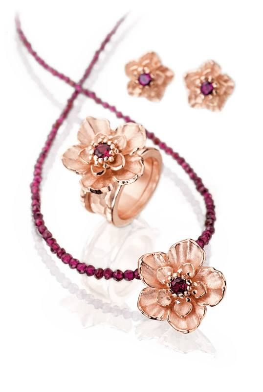 Cherry Magic Collection by Drachenfels. Beautiful rose gold plated silver flower pendant with matching ring and earrings