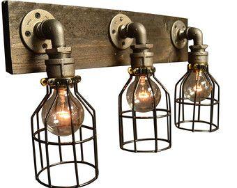 Reclaimed wood light bathroom lighting steel by UnionHillTradeCO