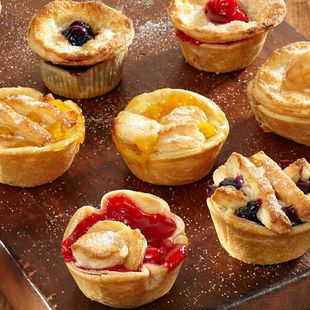 Farmers Market Mini Fruit Pies: Choose your favorite Duncan Hines® Comstock® Pie Filling and make these delectable Farmers Market Mini Fruit Pies.