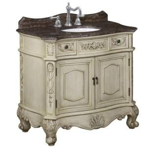 world imports belle foret 36 in single basin vanity with brown calico marble top with