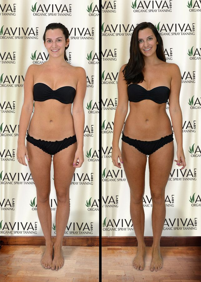 Spray Tan Before and After by Blush Organic Sunless Tanning using Aviva Labs