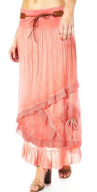Kjol med spets lång korall