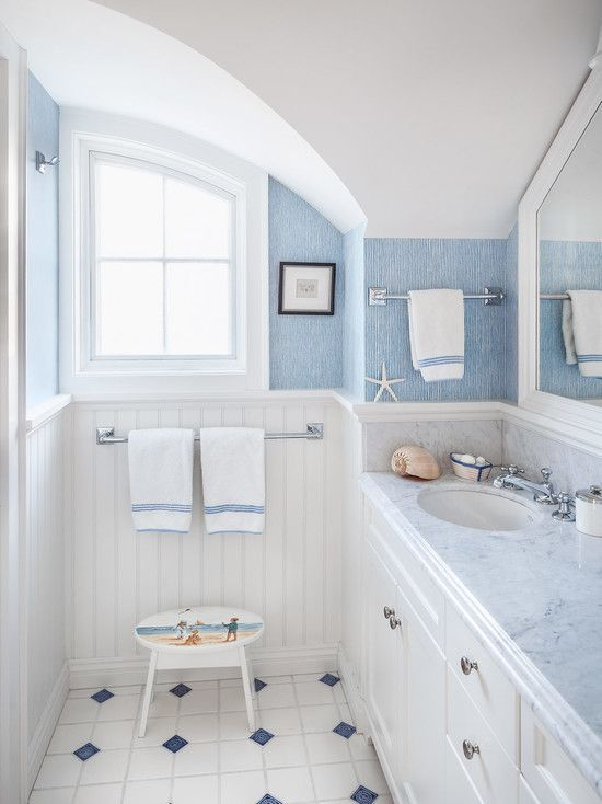 Downstairs Bathroom. Bathroom idea?  Love the blue and white paneling.  Simple decor. Downstairs bathroom