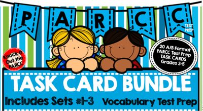 PARCC Test Prep Vocabulary Task Cards A/B Format Mega Bundle from Knock it out the PARCCK! on TeachersNotebook.com -  (54 pages)  - This Bundle Contains Set #1, Set #2, and Set #3 of 20 Task Cards Each ( 60 cards total)  with A/B Vocabulary Question Practice which simulates PARCC vocabulary questions throughout the ELA test.