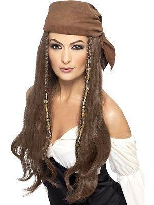 Piratenperücke braun Damen mit Kopftuch Seeräuber Piratin Perücke
