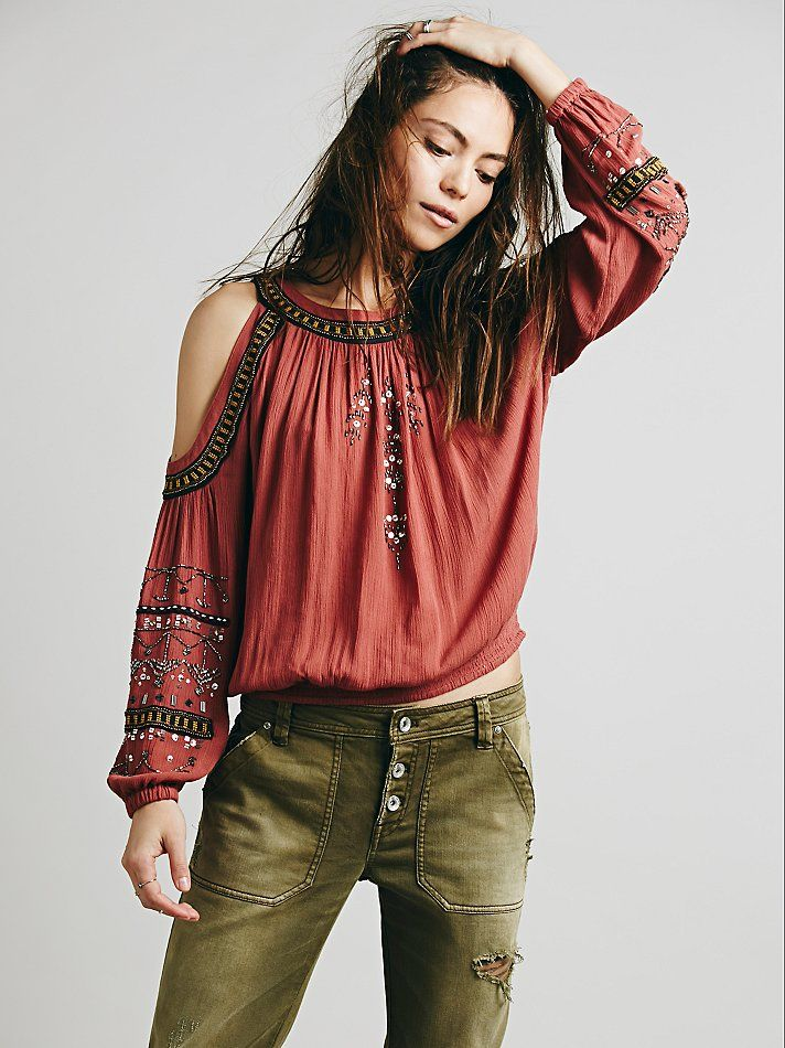 Free People Embellished Banded Open Shoulder Top at Free People Clothing Boutique