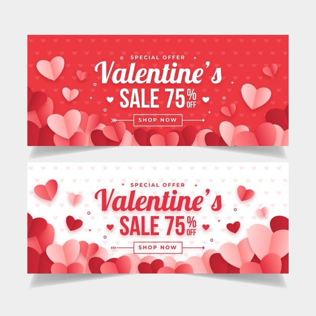 Download Flat Design Valentines Day Banners Template For Free Valentine S Day Greeting Cards Valentines Cards Valentines Design