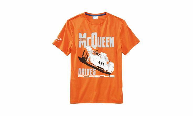 100% Baumwolle. In Orange... T-Shirt Porsche Steve McQueen Racing