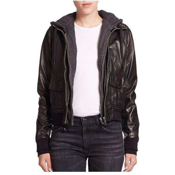 R13 Layered Jersey-Hood Leather Bomber Jacket ($1,395) ❤ liked on Polyvore featuring outerwear, jackets, black, bomber, flight bomber jacket, bomber jacket, leather bomber jackets, hooded jacket and genuine leather jackets