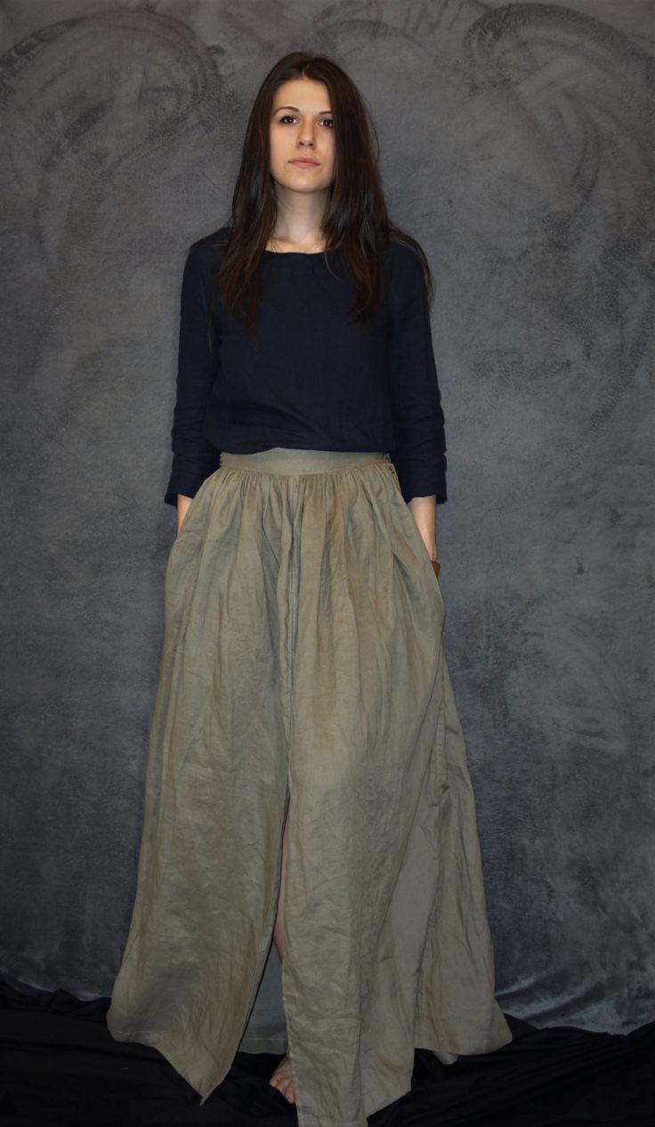 Khaki Linen Skirt, Handmade Skirt, Natural Fabric, Woman Fashion, Casual Clothing, Sustainable fashion, Summer skirt, Wide woman skirt by LinenTheOldWays on Etsy