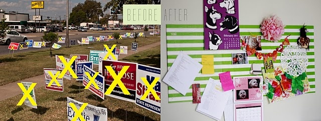 political signs - at least somebody found a use for them!