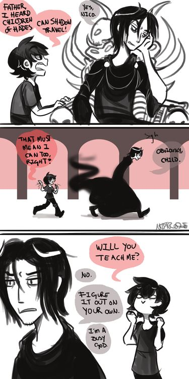 nico di angelo & hades- New head cannon where Nico will only let his geeky side slip when he's hanging out in his Dad's realm. :P