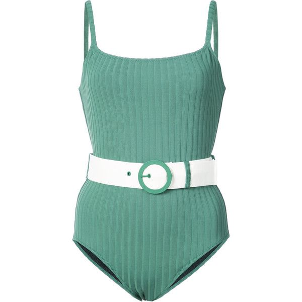 Solid & Striped The Nina swimsuit ($140) ❤ liked on Polyvore featuring swimwear, one-piece swimsuits, green, swimsuit swimwear, swim costume, lycra swimwear, spandex swimwear and swimming costume