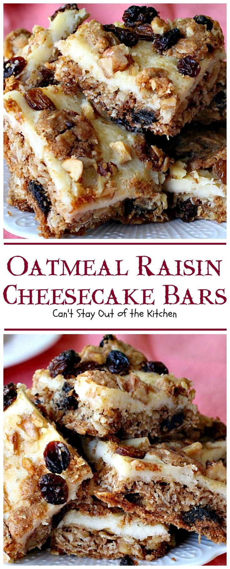 Oatmeal Raisin Cheesecake Bars are a great twist on the classic Oatmeal Raisin Cookies. Adding a cheesecake layer makes them spectacular.