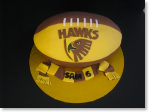 Hawthorn Football cake- love the football shape of this afl birthday cake.