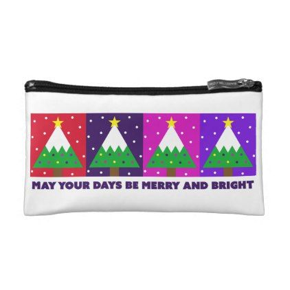 Funky Merry and Bright Christmas Tree Makeup Bag - pattern sample design template diy cyo customize