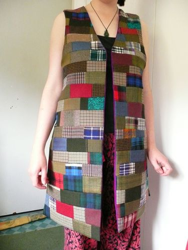 patchwork woollen sleeveless coat with purple silk lining
